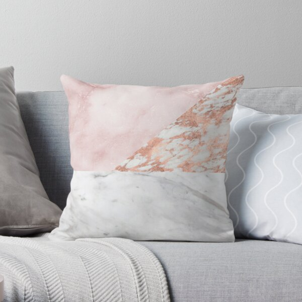 Mixed pinks rose gold marble Throw Pillow