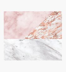 Mixed pinks rose gold marble Photographic Print