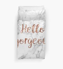Hello gorgeous - rose gold marble Duvet Cover