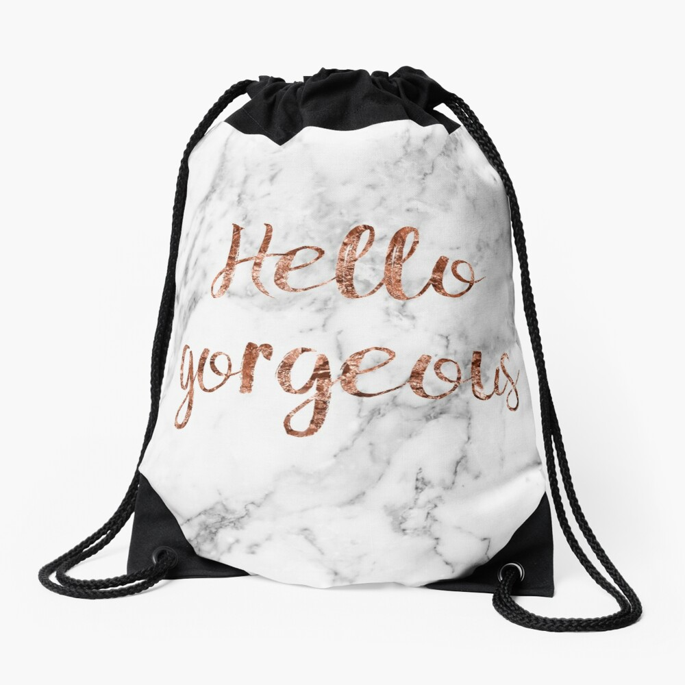 Hello gorgeous - rose gold marble Drawstring Bag