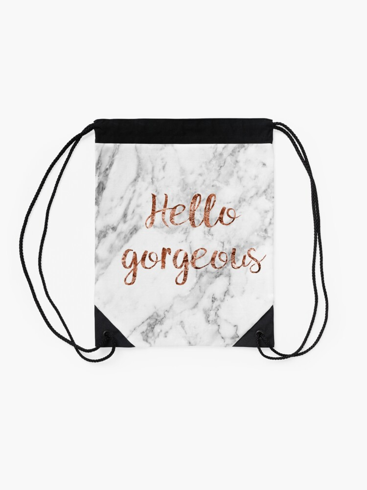 Alternate view of Hello gorgeous - rose gold marble Drawstring Bag