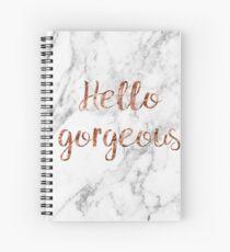 Cuaderno de espiral Hola hermosa - mármol de oro rosa