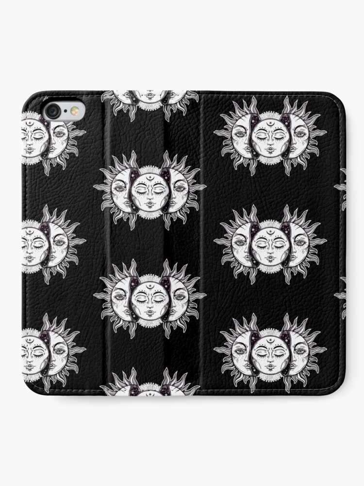 Alternate view of Vintage Retro Sun and Moon Solar Eclipse iPhone Wallet