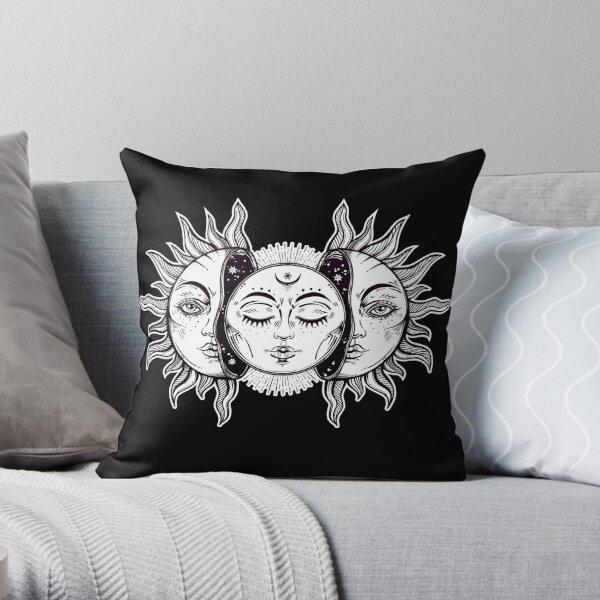 Vintage Retro Sun and Moon Solar Eclipse Throw Pillow