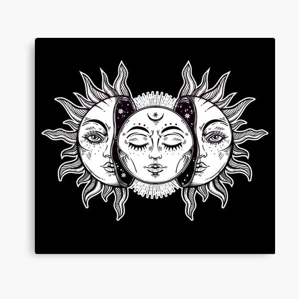 Vintage Retro Sun and Moon Solar Eclipse Canvas Print