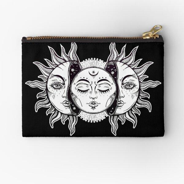 Vintage Retro Sun and Moon Solar Eclipse Zipper Pouch