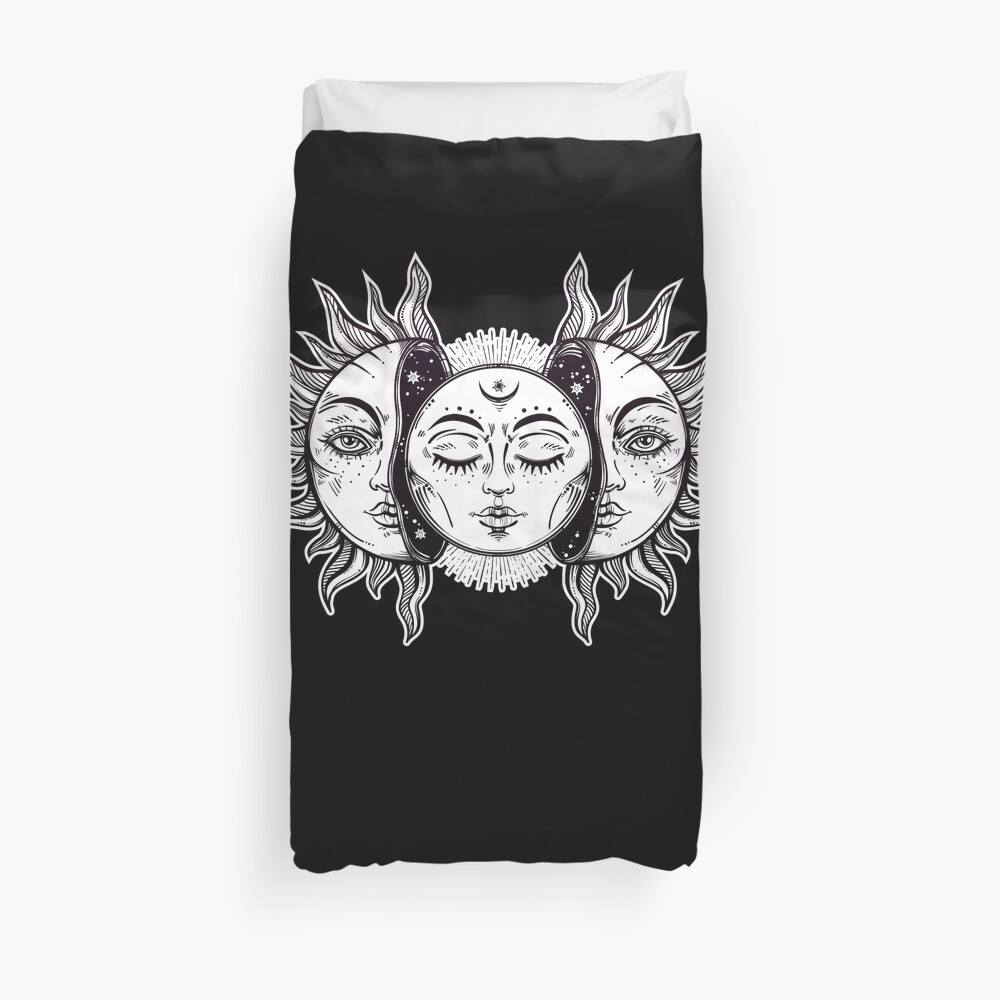 Vintage Retro Sun and Moon Solar Eclipse Duvet Cover