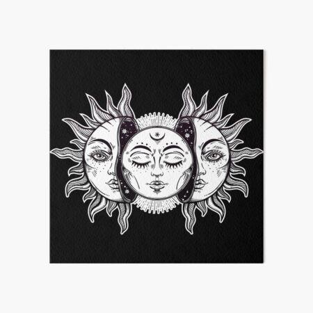 Vintage Retro Sun and Moon Solar Eclipse Art Board Print