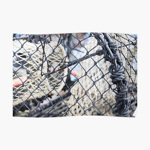 Net in a Fish trap photographed up close Poster