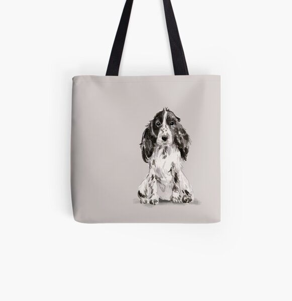 Cocker Spaniel Illustration All Over Print Tote Bag
