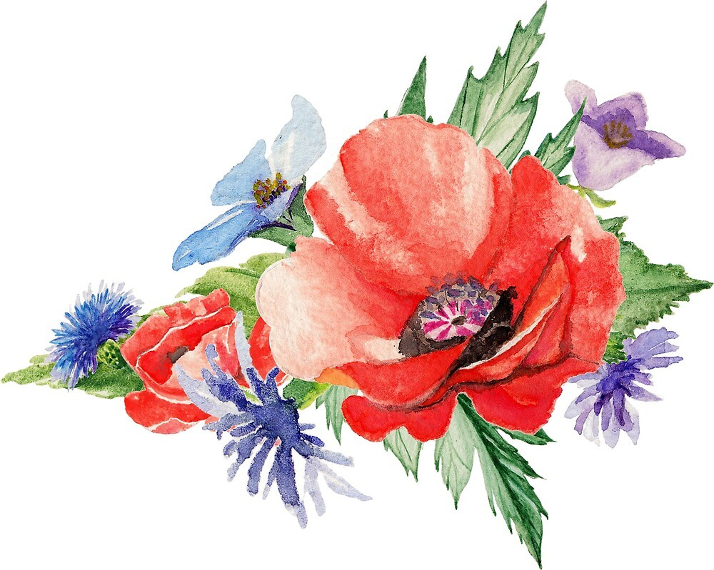Red Poppies And Blue Flower Bouquet By Junkydotcom Redbubble