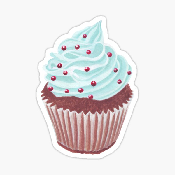 Blue cupcake with pink background Sticker