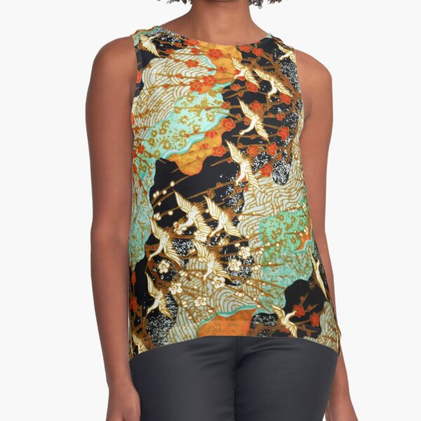 FLYING CRANES AND SPRING FLOWERS Antique Japanese Floral Sleeveless Top