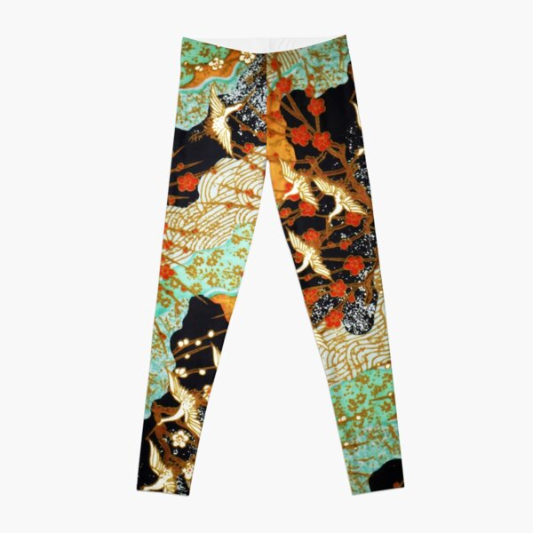 FLYING CRANES AND SPRING FLOWERS Antique Japanese Floral Leggings