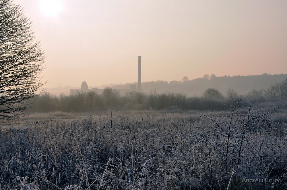 Frosty Field and Silhouet Factory by Andrew Cryer