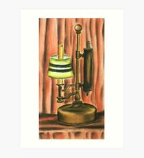 Antique lamp in colour Art Print