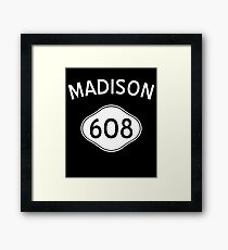 Madison 608 Wisconsin Vintage Area Code Framed Print