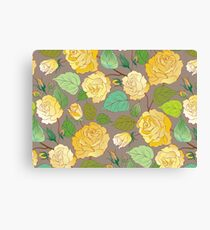 Watercolour Yellow Roses X Canvas Print