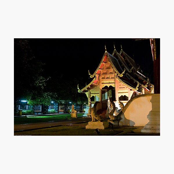 Wat Phra Singh at night Photographic Print
