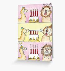 Llama vs Lion - Birthday Greeting Card