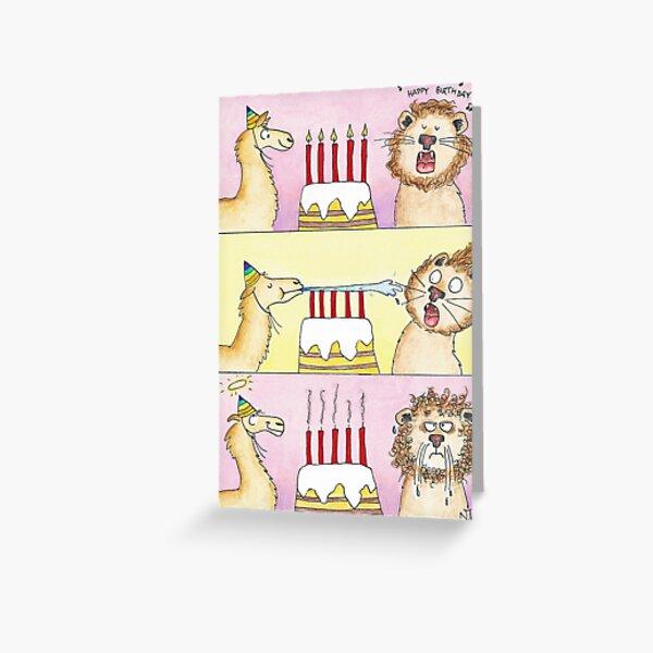Lama gegen Löwe - Geburtstagsgrußkarte durch Nicole Janes Grußkarte