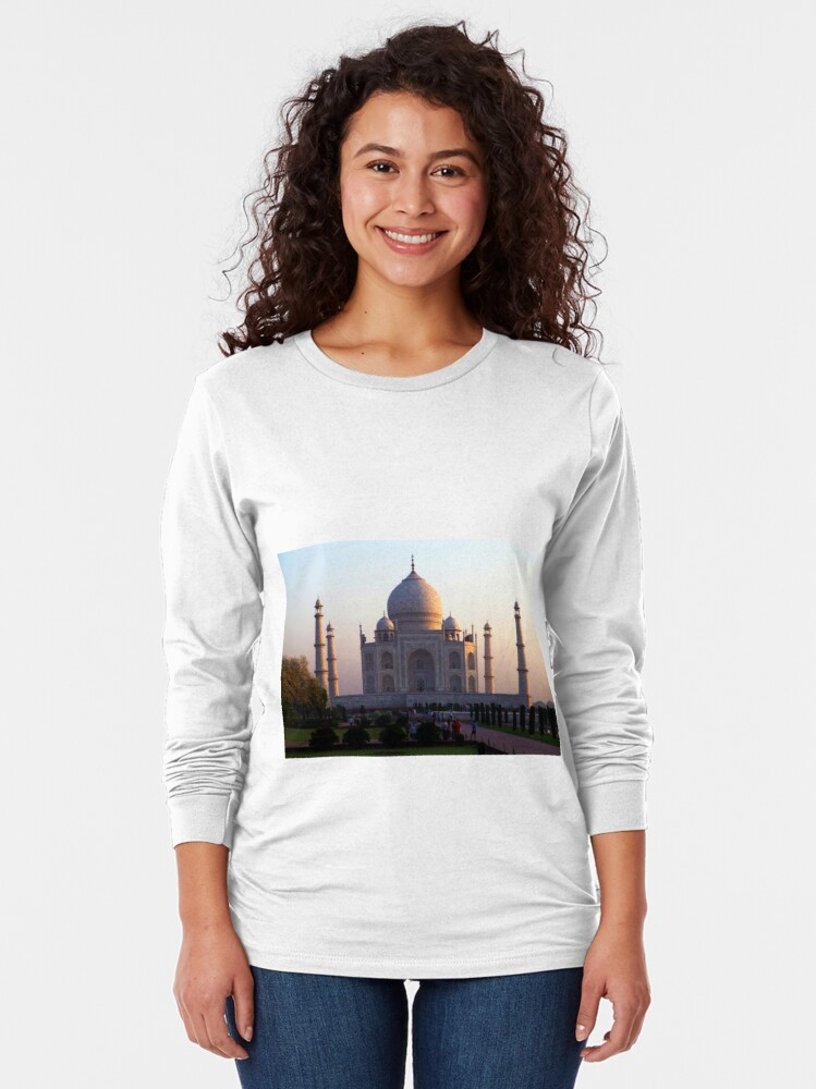 Alternate view of The Taj Mahal at sunrise. Long Sleeve T-Shirt