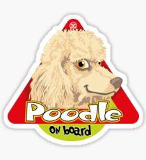 Poodle On Board - Cream Sticker