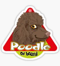 Poodle On Board - Brown Sticker