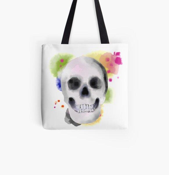 Watercolor Skull All Over Print Tote Bag