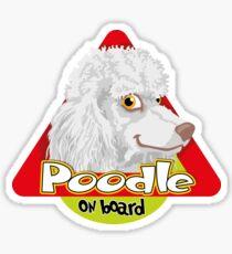 Poodle On Board - White Sticker