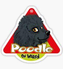 Poodle On Board - Mini Black Sticker
