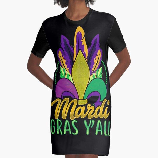 Mardi Gras Y'All  Graphic T-Shirt Dress