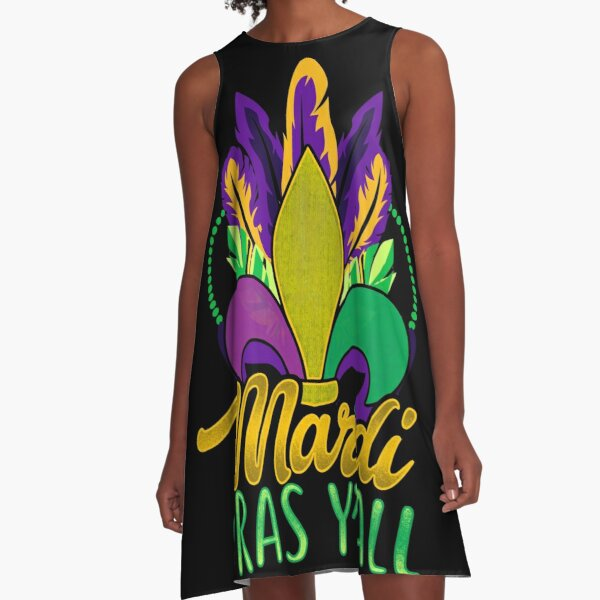 Mardi Gras Y'All  A-Line Dress