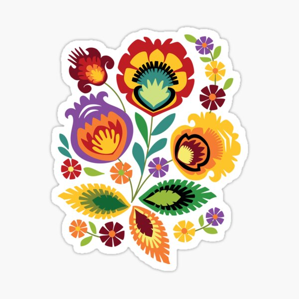 Polish Folk Flowers Red Sticker