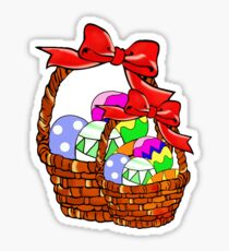 Easter basket with multicolored eggs Sticker