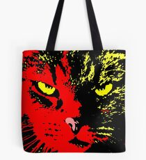 ANGRY CAT POP ART -  RED YELLOW BLACK Tote Bag