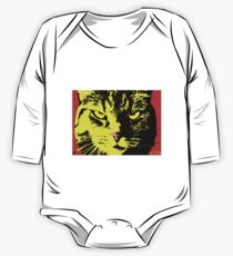 ANGRY CAT POP ART - YELLOW BLACK RED One Piece - Long Sleeve