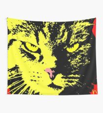 ANGRY CAT POP ART - YELLOW BLACK RED Wall Tapestry
