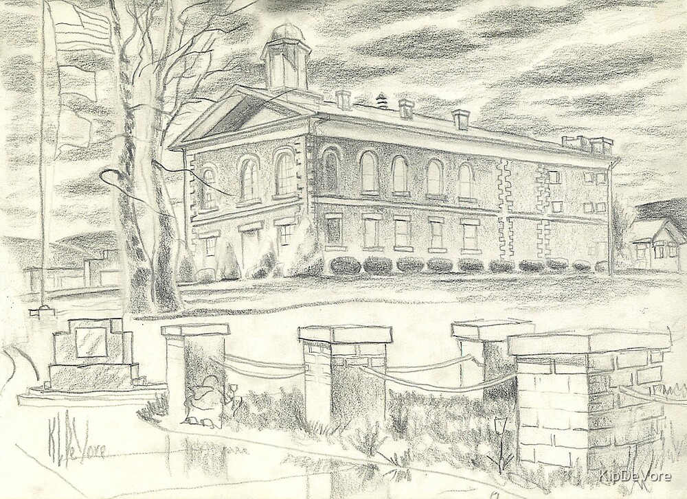 Picking the Tulips - Iron County Courthouse - Sketch by KipDeVore