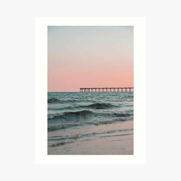 Pink Sky with Boardwalk Along the Ocean Art Print