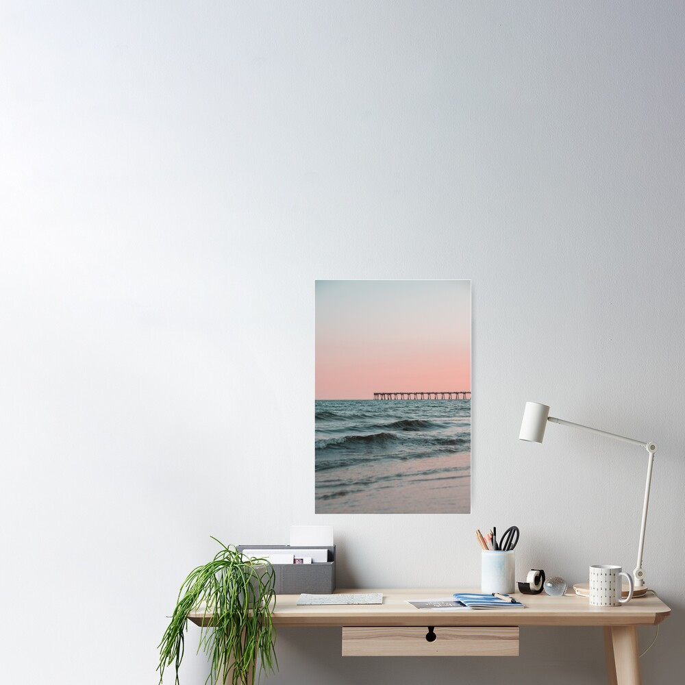 Pink Sky with Boardwalk Along the Ocean Poster