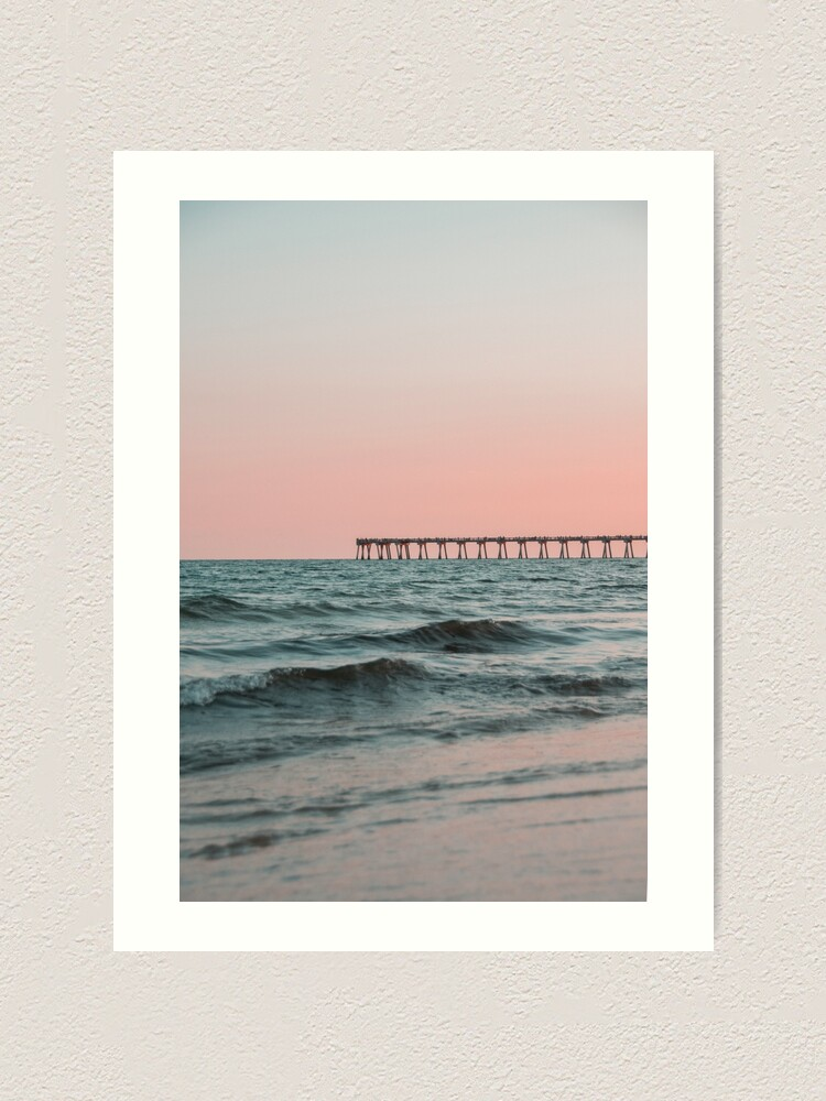 Alternate view of Pink Sky with Boardwalk Along the Ocean Art Print