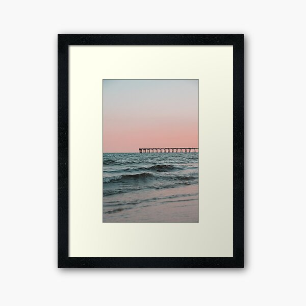 Pink Sky with Boardwalk Along the Ocean Framed Art Print