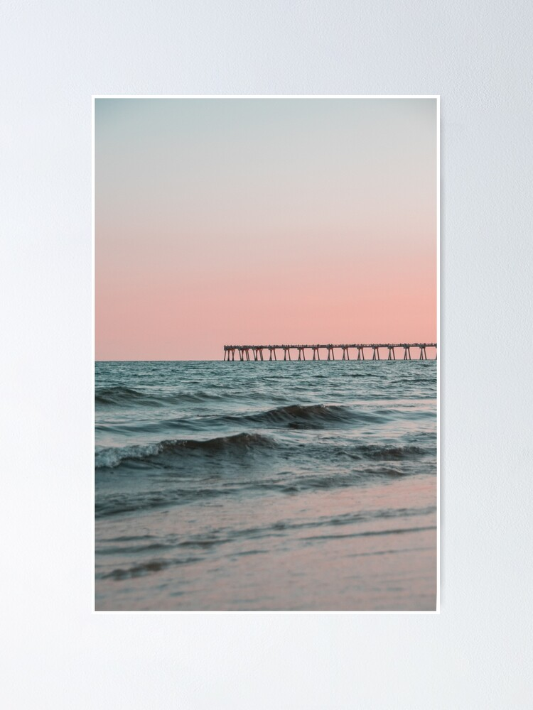 Alternate view of Pink Sky with Boardwalk Along the Ocean Poster