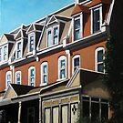 """City Row Houses"" - city buildings oil painting by LindaAppleArt"
