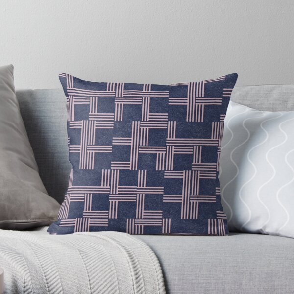 Navy Blue and Pink Geometric Pattern by Jessica Poundstone Throw Pillow