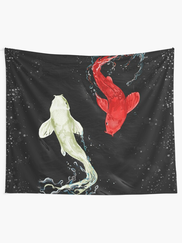 Alternate view of Koi Fishes Tapestry