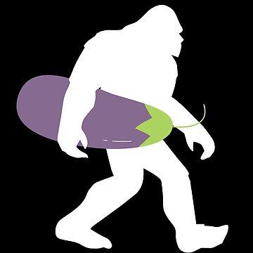 Bigfoot Vegan Vegetarian Eggplant Funny Design by kudostees