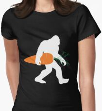 Vegan Bigfoot Carrying A Carrot Funny Design Women's Fitted T-Shirt