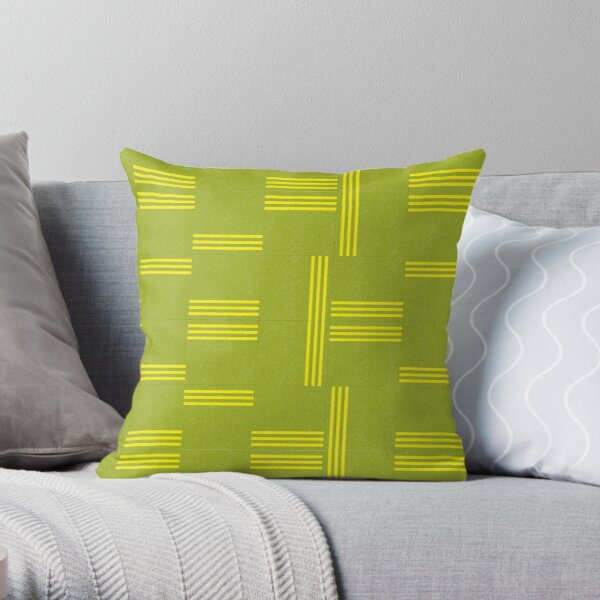 Leaf Green and Lemon Yellow Geometric Pattern by Jessica Poundstone Throw Pillow